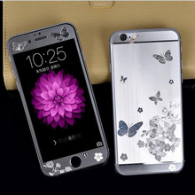 For iPhone 5/5S/6/6S/6 Plus/6S Plus Front + Back 3D Butterfly Plating Metal Skin Sticker Cover Case Ultrathin Tempered Glass(China (Mainland))