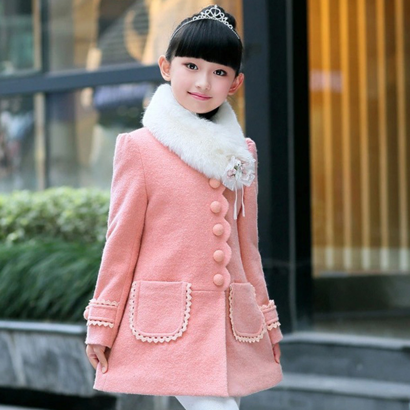 Girls Leopard faux fox fur collar coat clothing flower Winter wear Clothes baby Children outerwear dress jacket
