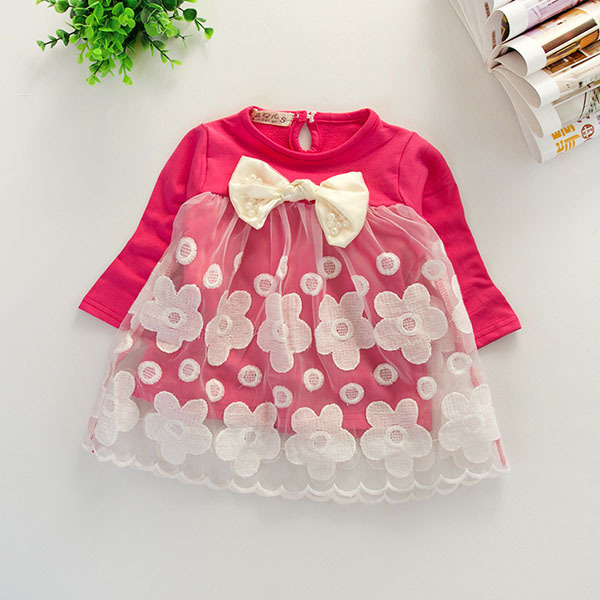 New Kids Girls Toddlers Floral Shirt Dress Long Sleeve Lace Tulle Tops Clothing 1-4Y(China (Mainland))