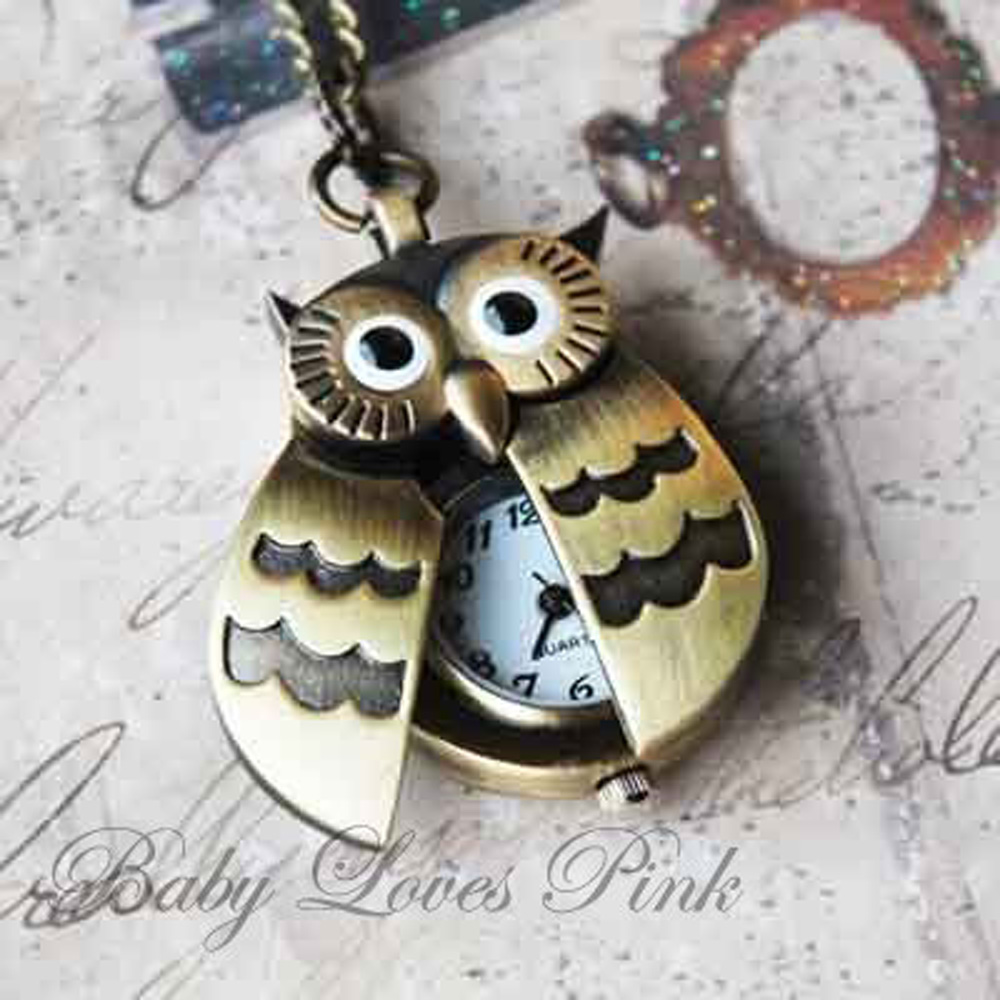 USA Delivery Flappy Wings Owl Locket Watch Necklace(China (Mainland))
