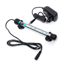 New Aquarium Fish Tank 18cm 6 LED 5050 SMD Blue White Bar Light Underwater Submersible Waterproof Clip Lamp Decoration Lighting(China (Mainland))