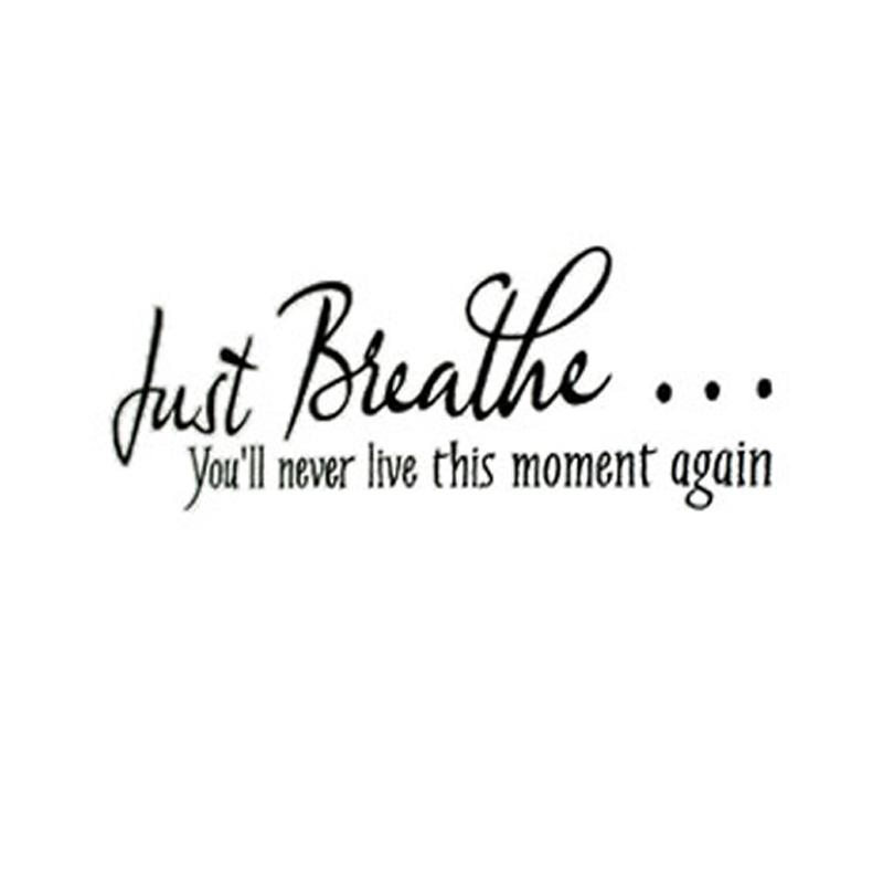 Just Breathe You'Ll Never Live This Moment Again Vinyl Art Room Wall Paper Living Room Decorative Accessories Wall Sticker(China (Mainland))