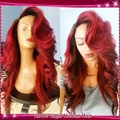 2015 Black Red Two Tone Ombre U Part Wig Glueless Lace Front Human Hair Wigs Brazilian