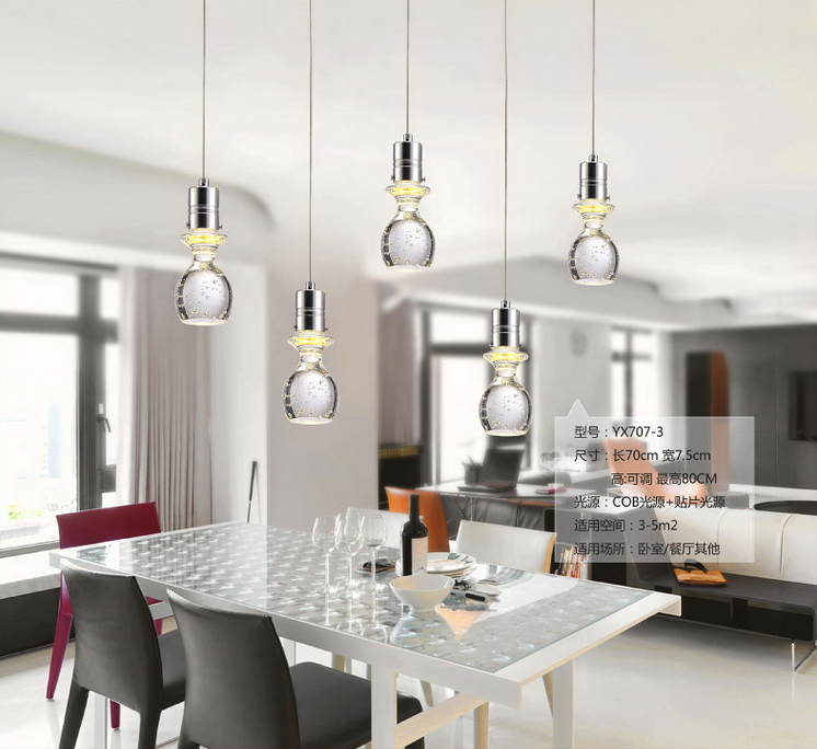 Contracted Sitting Room Dining-room Lamp Cafe Modern Art Popular Bubble LED Luster Crystal Glass Chandelier