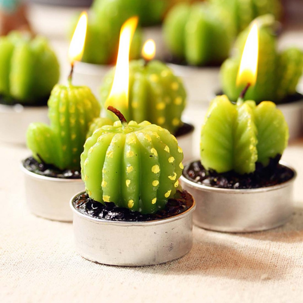 1Pcs New Artificial Green Plants Candle Decoration Cactus Candles Succulents For Birthday Wedding Decoration F0527