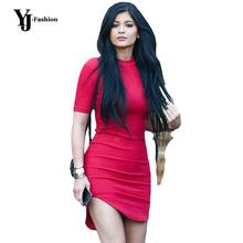 YJ Fashion Women Solid Red Irregular Hem OL Work Sheath Dress Ladies Casual Slim Fit Short Sleeve Bodycon Mini Party Club Dress