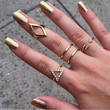 Free shipping 18K gold Plating Rhinestone Trangle rhombus Arrow Finger Rings Set ,5pcs/set Fashion Jewelry Wholesale .(China (Mainland))
