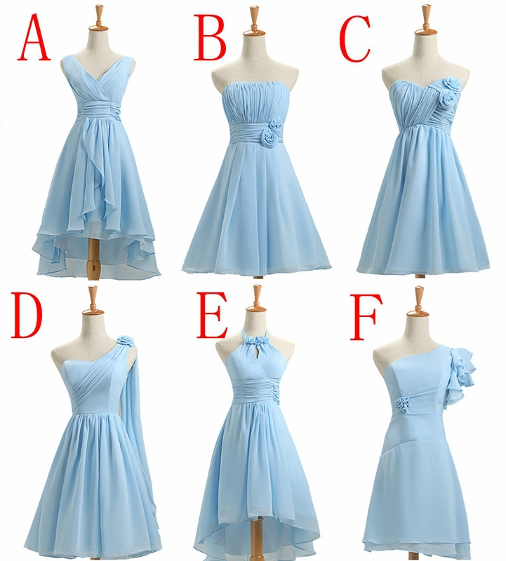 Knee length short light blue bridesmaid dress customize for Light blue dress for wedding