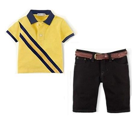 Wholesale New Boys POLO Short Sleeve T-shirt + Denim Pants suit Children boy yellow shirts shorts set Child two-piece clothes<br><br>Aliexpress