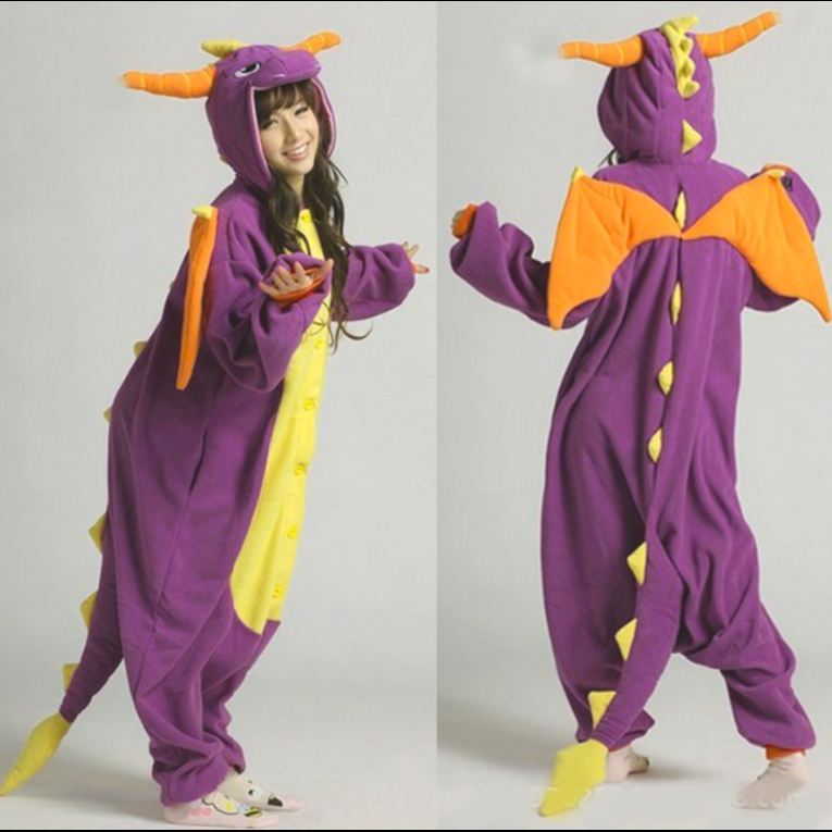 2016 Fashion Adult Pajamas Cosplay Costume Japan Anime Purple Spyro Dragon Cute Flannel Animal Onesie PyjamaОдежда и ак�е��уары<br><br><br>Aliexpress