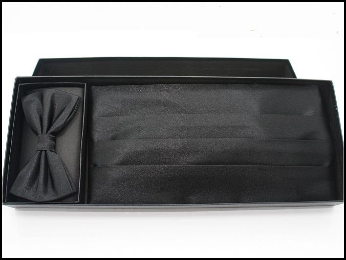 man formal dress cummerbund set black cummerbund bow tie pocket towel full set(China (Mainland))