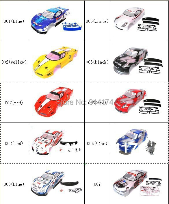1/10 rc car body shell for 1:10 R/C racing car 190mm henglong 2pcs/lot free shipping(China (Mainland))