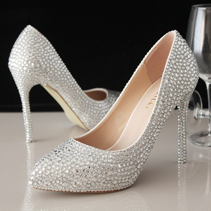 sweet rhinestone beaded formal shoes high heels