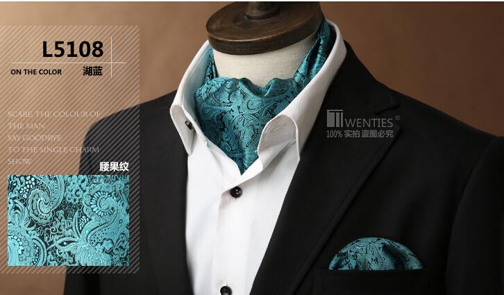 L5108 Men Ascot Cravat(Scarves Scarf )+Pocket Square 1set Jacquard Ties Paisley High Quality Green ree shipping(China (Mainland))