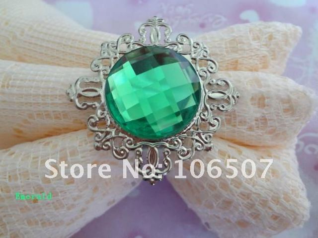 100% quanlity assurances 50pcs Emerald Green Gem Napkin Rings banquet Wedding Favour Party table decor supplies-FREE SHIPPING