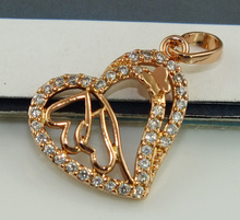 Free Shipping Hot 1PC 14K Rose Gold Filled Refined Sweet Hearts CZ Womens Pendant(China (Mainland))