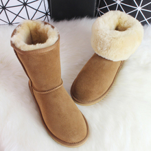 BLIVTIAE/Luxury Sheepskin Snow Boots Australia Winter Sheep Fur Wool Snow Boots Classic Thick Middle Button Women Leather Shoes(China (Mainland))