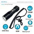 Super Bright 2000 Lumen L2 LED Scuba Dive Flashlight Torch Diving LED Light 100M Underwater Lantern