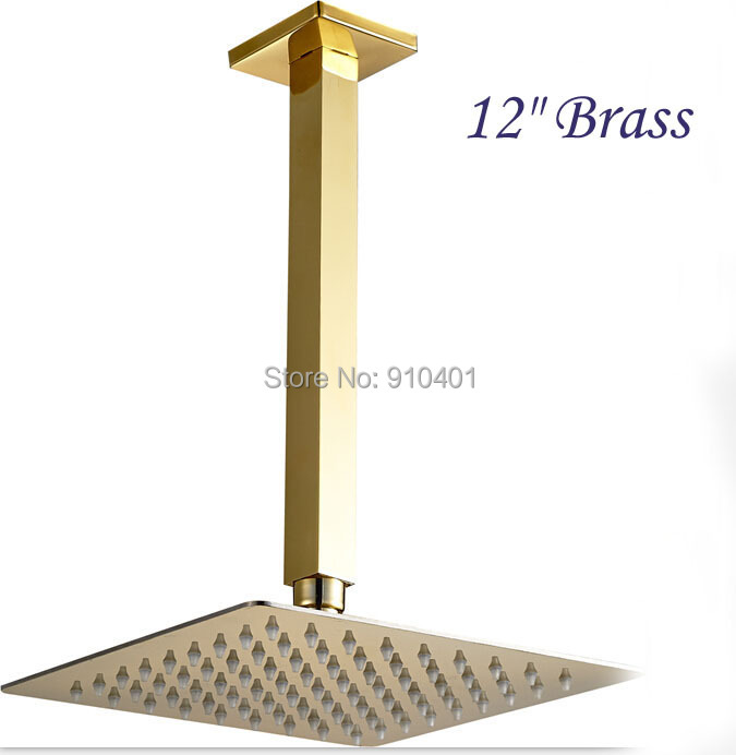 "Large 12"" Square Shower Head + 10"" Shower Arm Golden Brass Top Over-head Sprayer(China (Mainland))"