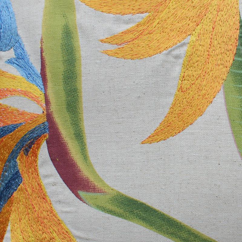 embroidered yellow strelitzia rginae flower sofa cushions floral cotton linen throw pillows ...