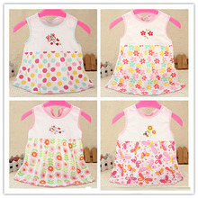 2016 Kids Summer Dresses Baby Cotton Infant Clothing Girl Children's Dress Newborn Sleeveless Embroidery Clothes w616