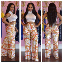 Buy New 2016 Fashion Summer Women 2 Pieces Jumpsuit Set Sexy Bodycon White Crop Top Long Printed Wide Leg Pants Female Rompers KP#81 for $15.99 in AliExpress store