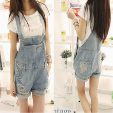 2015 New Summer Women Girl Washed Jeans Denim Casual Hole Jumpsuit Romper Overall Short Women Clothing Macacao Feminino ZL2777
