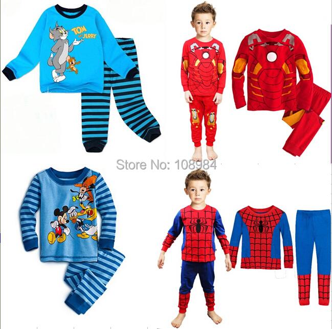 Retail baby underwear clothing Long sleeve Boys girls pajamas children cartoon sleepwear clothing set kids suits(China (Mainland))