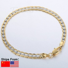 4mm Men Women Silver Gold Filled Bracelet Curb Chain GF Jewelry Wristband GB94