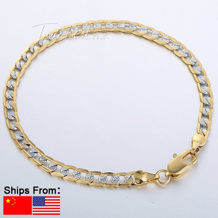 4mm 18K Silver Gold Filled Bracelet Curb Bracelet Wholesale Promotion Mens Womens Jewelry Gift 7-11inch Optional LGB94(China (Mainland))