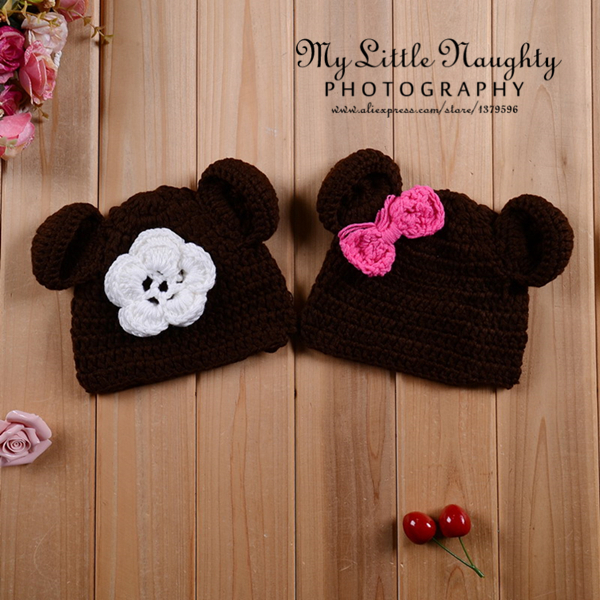 Crochet baby white flower and rosy red bow brown bear animal beanie infant winter hat newborn photo sombrero para bebe foto(China (Mainland))