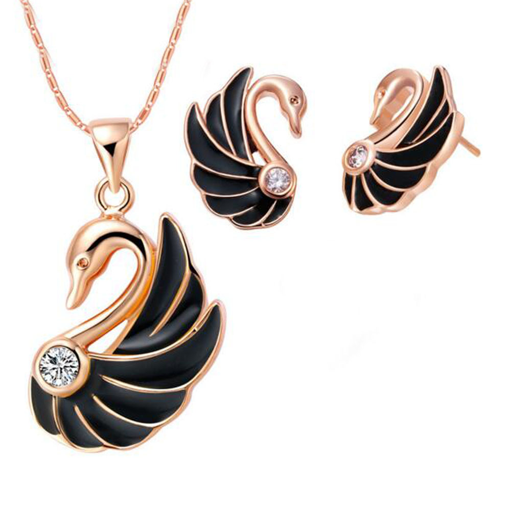 2PCS Enamel Swan Jewelry Sets Cute Rose Gold Plated Pendants Necklaces Earrings Set Women Classic Romantic Bridal Gift(China (Mainland))