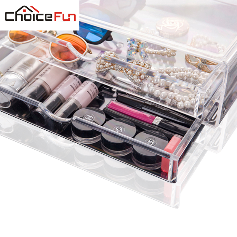 Hot selling acrylic makeup container plastic storage box makeup organizer housekeeping organization cosmetic organizer SF-2174-2(China (Mainland))