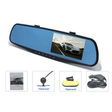 "HD 4.3"" LCD Dual Lens Video Dash Cam Recorder Car Camera DVR 3 In 1 Rearview Mirror + Front Car DVR + Rear view Camera(China (Mainland))"