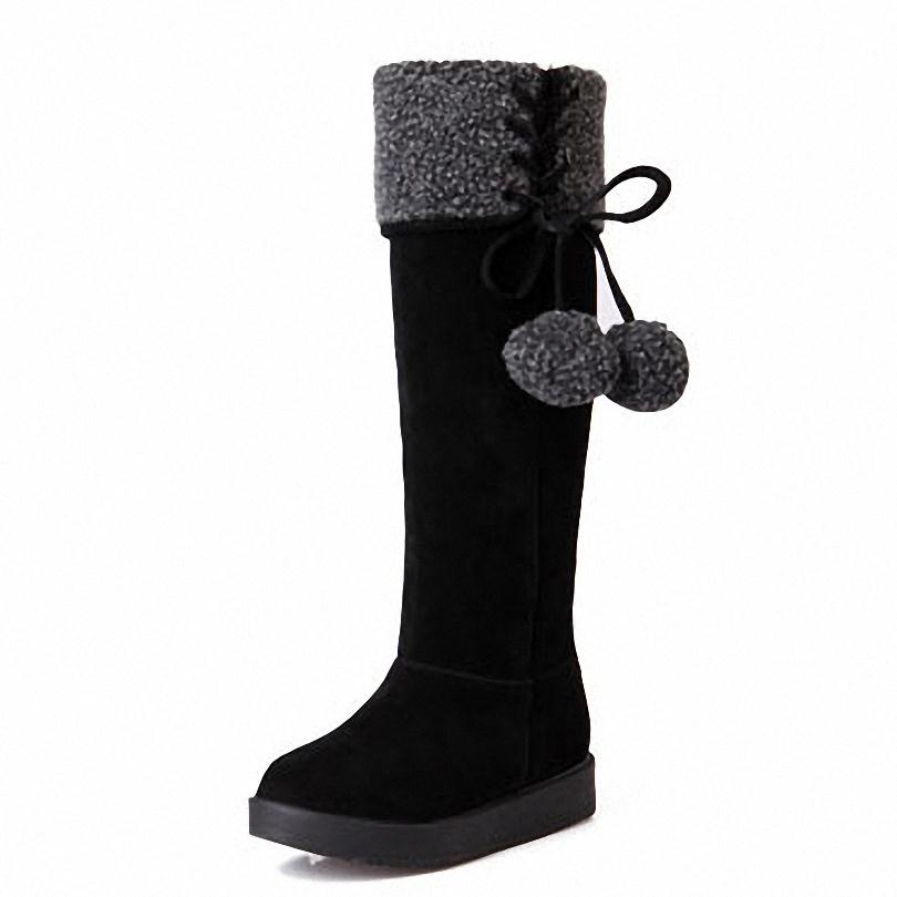 ENMAYER New  Round Toe Knee-High Flats snow boots shoes platform boots for women fashion sexy warm long Winter Knight boots