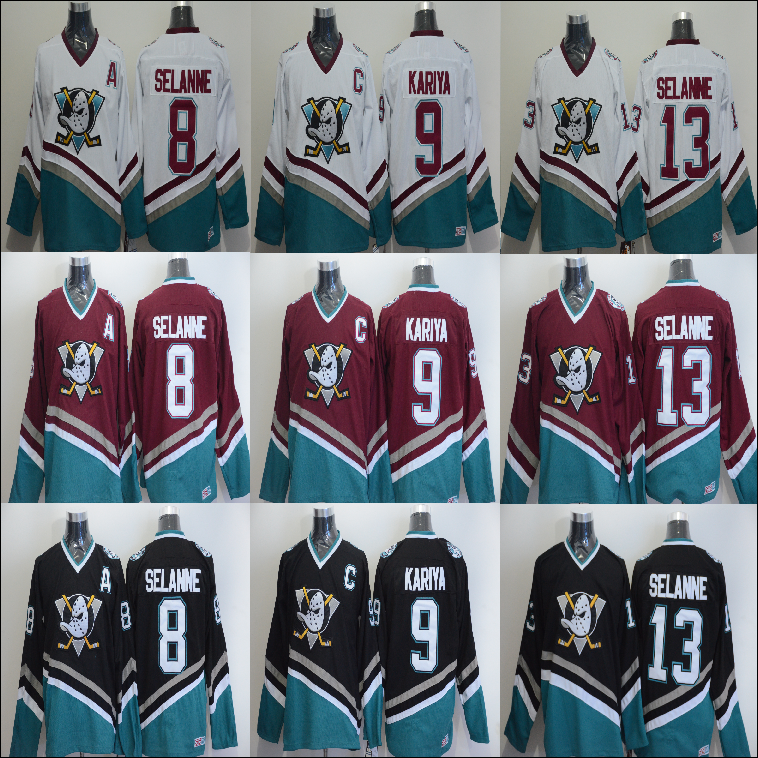 Men's hoodie jersey Anaheim Ducks Hoodies 8 Selanne 9 Paul Kariya #13 Teemu Selanne ice hockey jerseys sweater free shipping