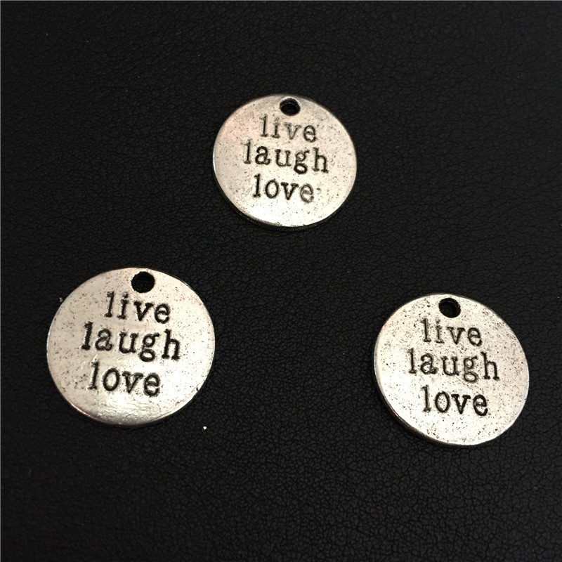 4pcs 20mm New Round Vintage Antique Silver Tone Message Lettering Live Laugh Love Lucky Charms Pendant Best Wishes Birthday Gift(China (Mainland))