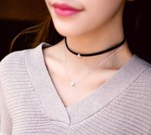 New fashion jewelry two layer leather rhinestone choker necklace  gift for women girl N1858(China (Mainland))