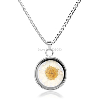 Glass Concave Shape Silver Plated Statement Chain Necklace Jewelry For Women Classic Yellow Flower Pendant Necklace