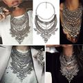 2016 Collar ZA Necklaces Pendants Vintage Crystal Maxi Choker Statement Silver Collier Femme Boho Big Fashion