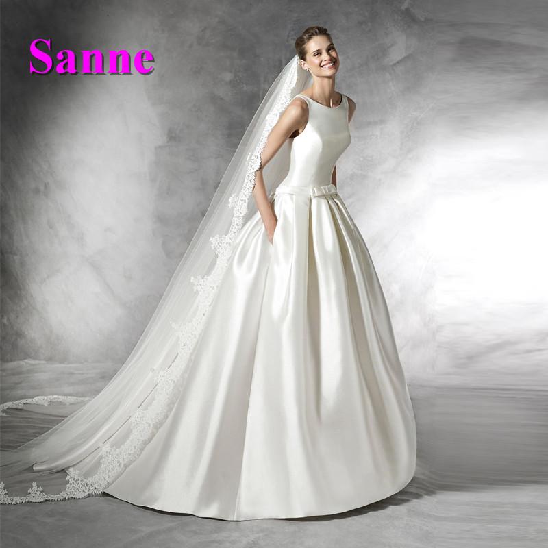 New Design Ball Gown Satin Wedding Dress Floor Length Simple Long Wedding Gowns Cheap Bridal Dress China(China (Mainland))