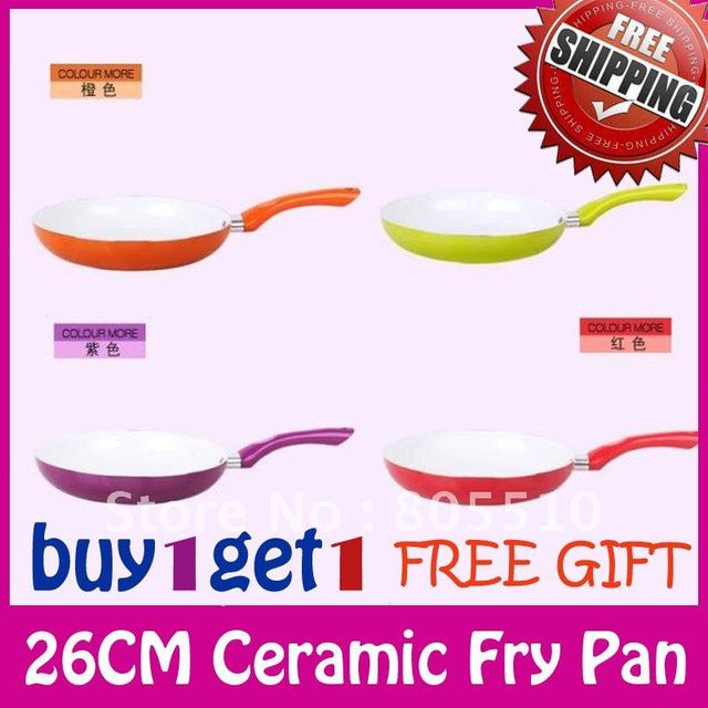 """BUY 1 GET1""Free Shipping Brand New Eco Friendly Healthy Ceramic 26cm Nonstick Fry Pan Skillet Cookware FDA,LFGB,DGCCRF,SVHC"