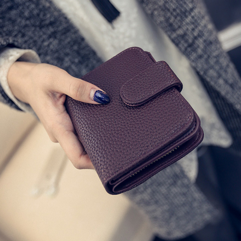 Fashion Women Black Leather Wallet Coin Purse Money Bag Small Wallet and Purse Mini Zipper Hasp Short Lady Purse Crad Holder(China (Mainland))