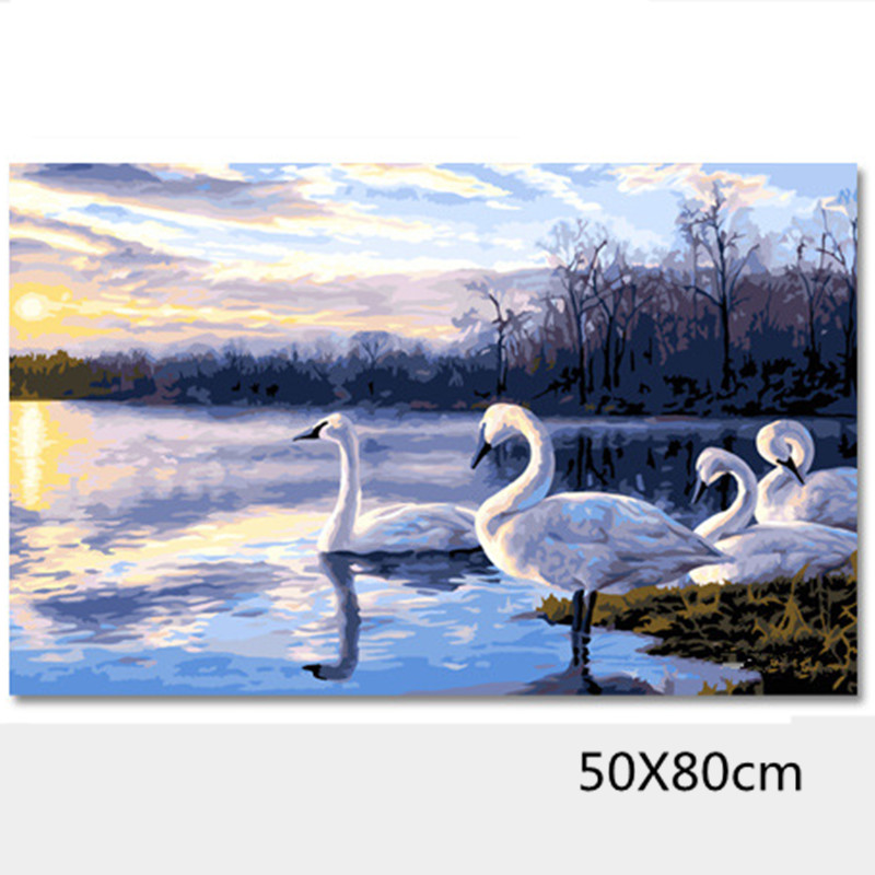 drawings by the numbers of swan animal pictures oil painting on canvas of home decoration wall art in the room 50X80cm H081(China (Mainland))