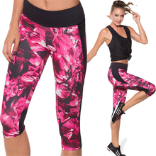 Women Yoga Pants Calf-length Leggings Fashion Printing Fitness Yoga Pants New Lady Yoga Gym Wearing 3 Colors Choices