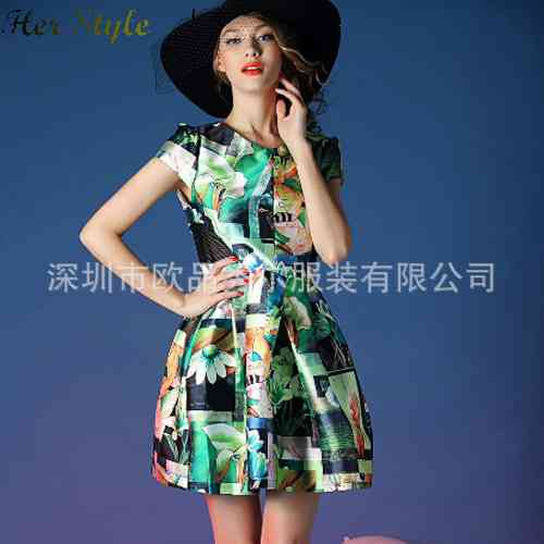 Free Shipping new 2015 spring fashion picture printing stitching womens short sleeve dress 1431946857(China (Mainland))