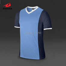 Accept small quantity Custom Soccer Jersey tops Short-sleeve Dry fit Top quality Adult Kids V-neck 100%polyester(China (Mainland))