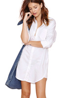 2015 Slim casual fashion boyfriend Fan loose white long-sleeved shirt and long sections blouse