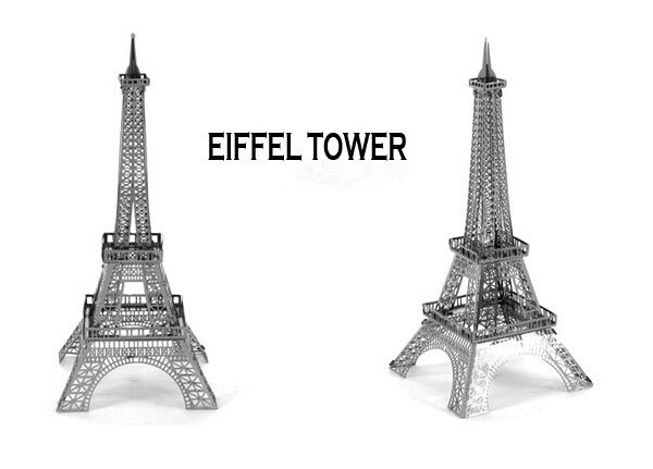 3D Puzzle Metal Model Classic Eiffel Tower Construction Architecture Intelligence Kids DIY Toy for Children&Adults,Free Shipping(China (Mainland))