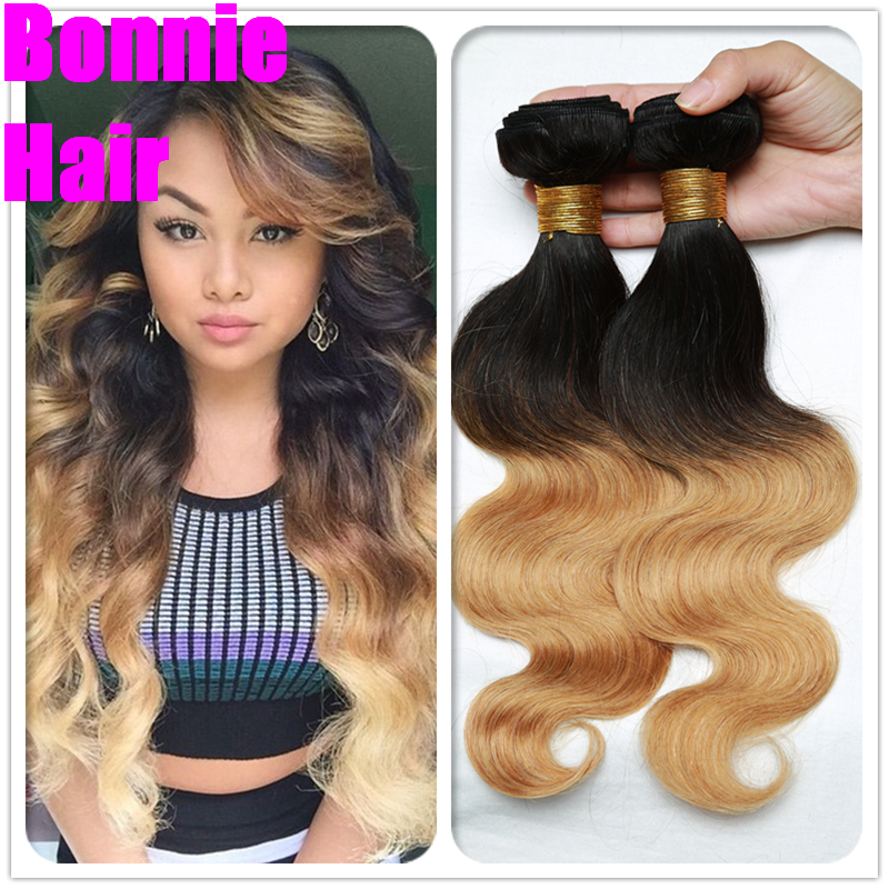 Brazilian Virgin Hair 3 Bundles Brazilian Body Wave Ombre Hair Extensions 1B #30/ 27 Ombre Human Hair Weave Spark Hair Bundles